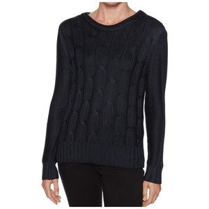 Magaschoni navy blue cable knit sweater xs